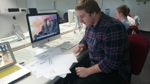 Luke helps compile raw pieces ready for GIF making with Charlotte