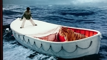 From the Movie you can see the shapes of the boat the expanse of ocean and how important the boat is to Piscine survival